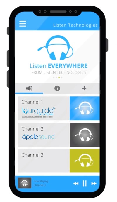Image of Smartphone displaying ListenEVERYWHERE App